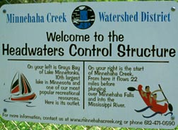 Headwaters Control Structure sign